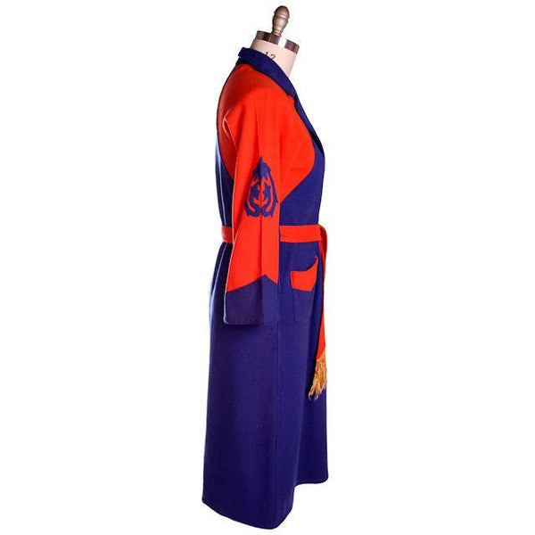 Vintage Mens Wool Robe Early Bucknell University Orange & Purple 1920s - The Best Vintage Clothing  - 2