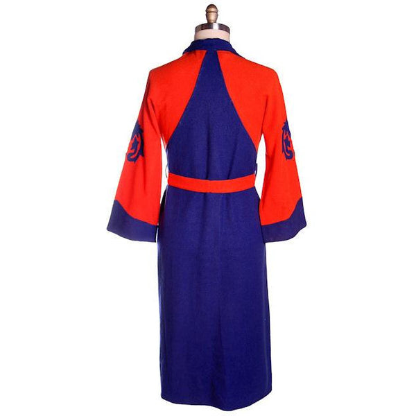 Vintage Mens Wool Robe Early Bucknell University Orange & Purple 1920s - The Best Vintage Clothing  - 3