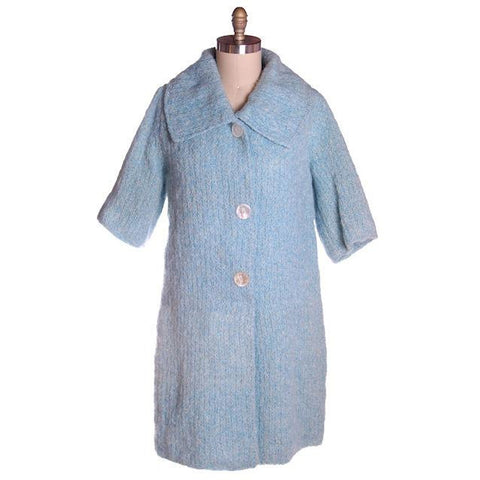 Vintage Pale Blue Mohair Sweater Coat 1950s Lined In Silk  44 Bust