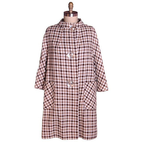 Vintage Large Scale Hounds Tooth Linen Swing Coat 1950s Great Buttons M-L