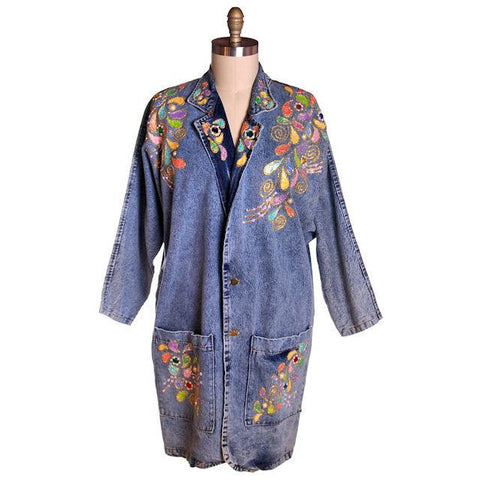Vintage Denim Coat Laura Rogers Originals Hand Painted 1980s