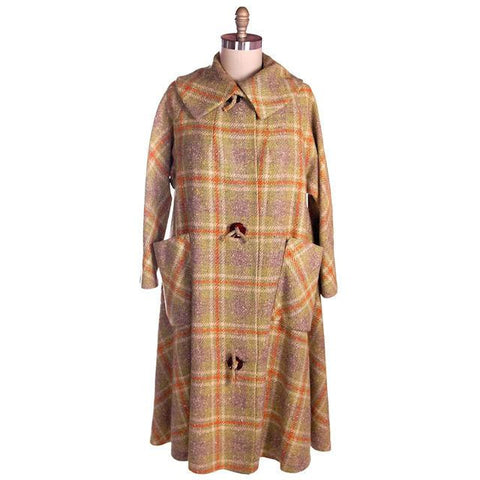 Vintage Coral & Green Tweed Plaid Extreme Swing Coat Fab Buttons 1940s M-XL