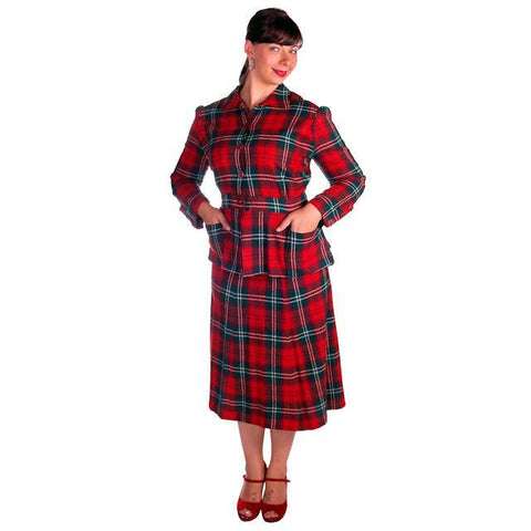 Vintage Red/Green Plaid Wool Suit Ladies Early 1940s Belted 42-30-42 Purrfect