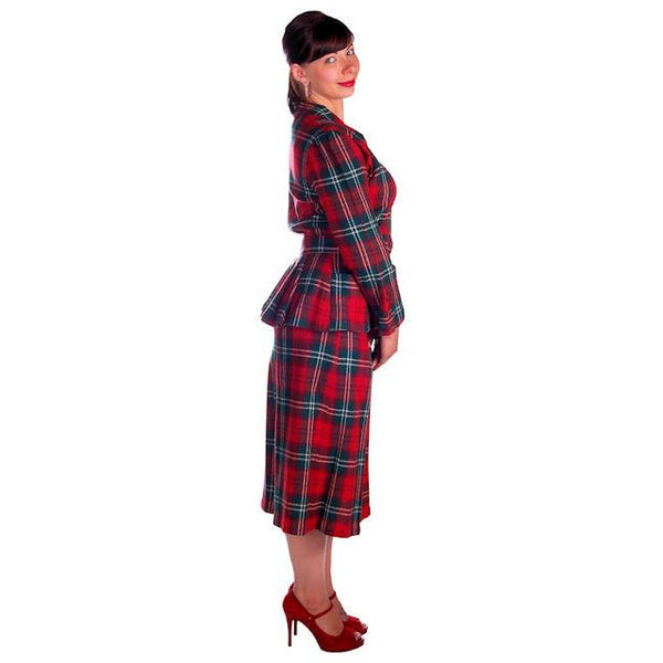 Vintage Red/Green Plaid Wool Suit Ladies Early 1940s Belted 42-30-42 Purrfect - The Best Vintage Clothing  - 2