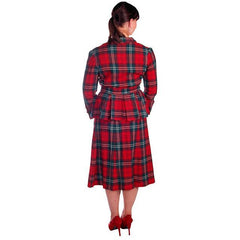 Vintage Red/Green Plaid Wool Suit Ladies Early 1940s Belted 42-30-42 Purrfect - The Best Vintage Clothing  - 3