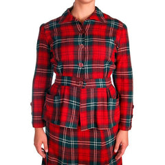 Vintage Red/Green Plaid Wool Suit Ladies Early 1940s Belted 42-30-42 Purrfect - The Best Vintage Clothing  - 4