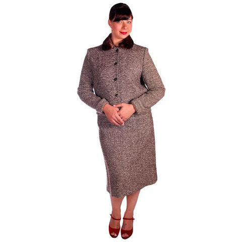 Vintage Brown Tweed Wool Ladies Suit Mink Collar 1950s 43-30-43