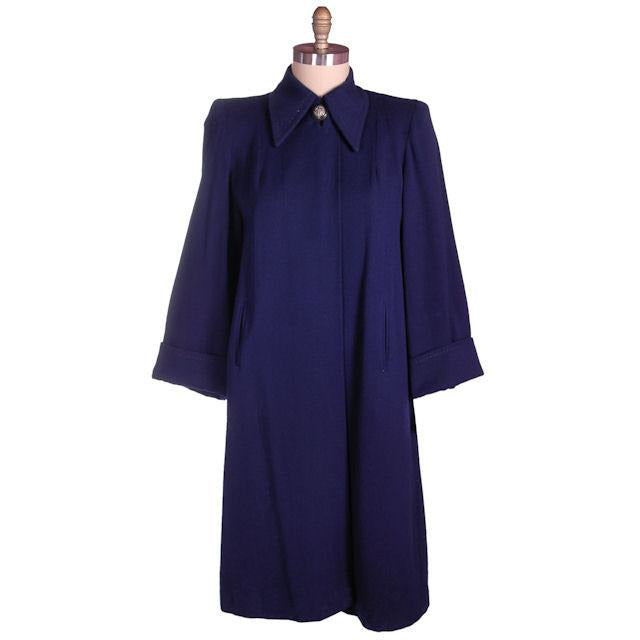 Vintage Navy Blue Wool Swing Coat Fab Details 1940s M-XL - The Best Vintage Clothing  - 1