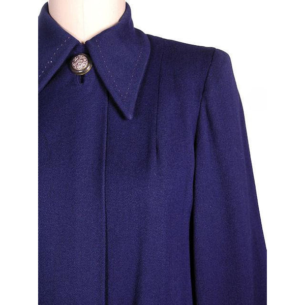 Vintage Navy Blue Wool Swing Coat Fab Details 1940s M-XL - The Best Vintage Clothing  - 4