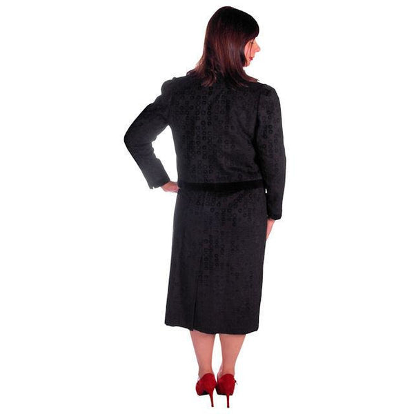 Vintage Classic Textured Black Suit Ophelie 1980s Paris Circles Motif  40 Bust-43 - The Best Vintage Clothing  - 4