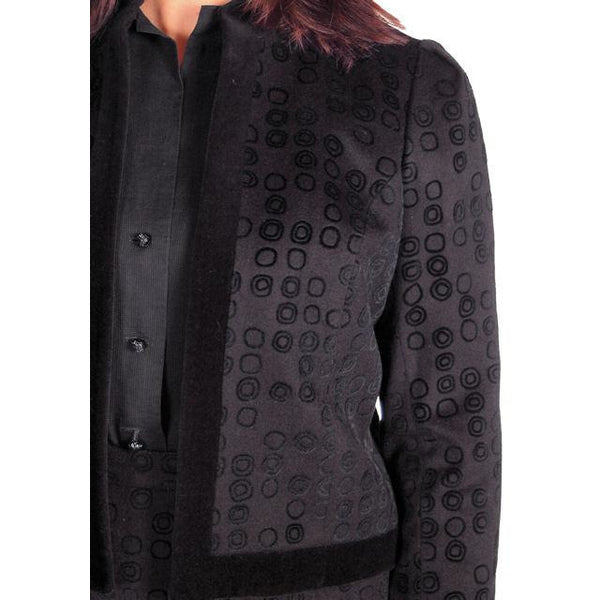 Vintage Classic Textured Black Suit Ophelie 1980s Paris Circles Motif  40 Bust-43 - The Best Vintage Clothing  - 5