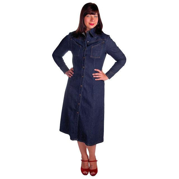 Vintage Denim Coat Dress LandLubbers Dark Wash Cool Pockets 1970s 36-32-44 - The Best Vintage Clothing  - 1