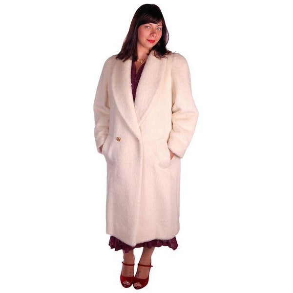Vintage Christian Dior White Wool Coat 1980s Size 10 - The Best Vintage Clothing  - 2