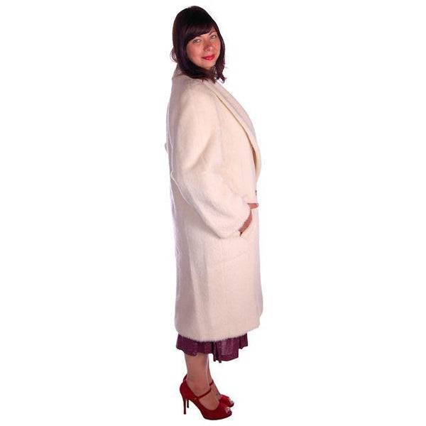 Vintage Christian Dior White Wool Coat 1980s Size 10 - The Best Vintage Clothing  - 3