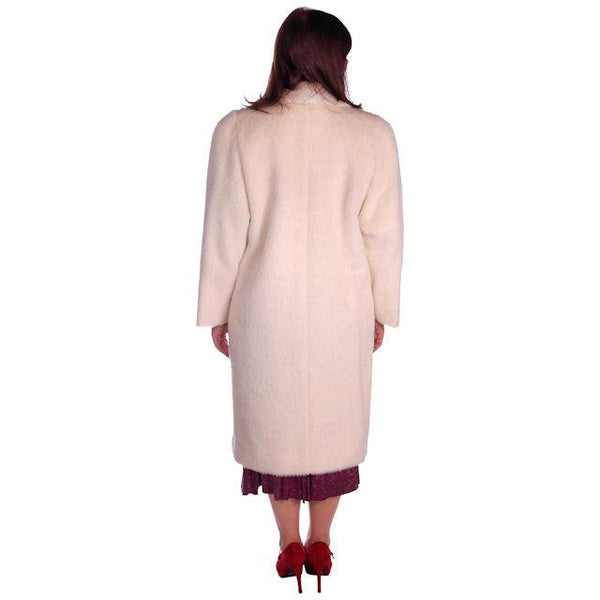 Vintage Christian Dior White Wool Coat 1980s Size 10 - The Best Vintage Clothing  - 4