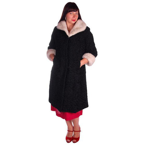 Vintage Swing Coat Black Karakul Fur Persian Lamb White Mink Trim Large 1950s M-L