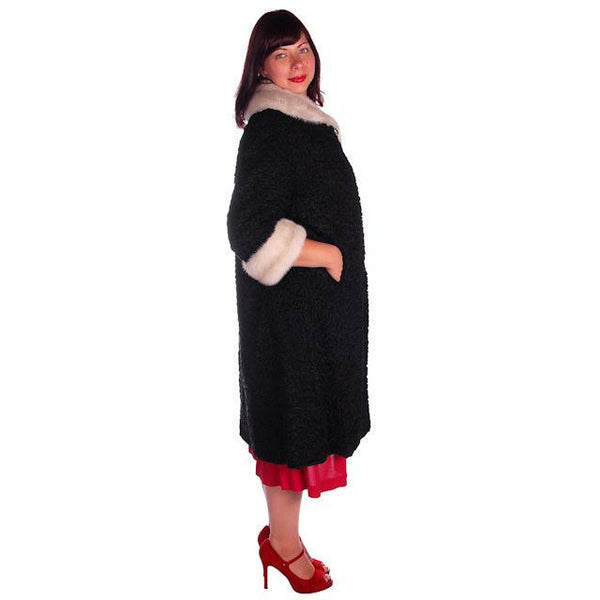 Vintage Swing Coat Black Karakul Fur Persian Lamb White Mink Trim Large 1950s M-L - The Best Vintage Clothing  - 2