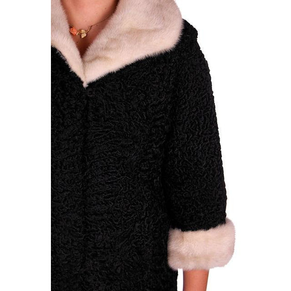 Vintage Swing Coat Black Karakul Fur Persian Lamb White Mink Trim Large 1950s M-L - The Best Vintage Clothing  - 4