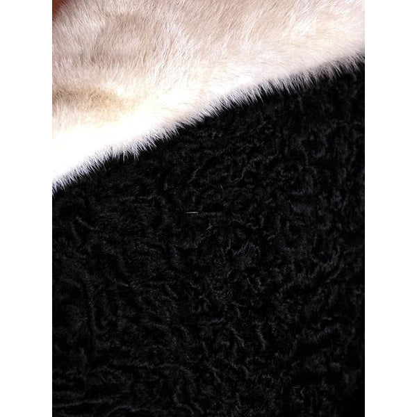 Vintage Swing Coat Black Karakul Fur Persian Lamb White Mink Trim Large 1950s M-L - The Best Vintage Clothing  - 5