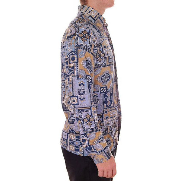 Mens Vintage Nylon Body Shirt 1970s Disco Style Large Geometric Print - The Best Vintage Clothing  - 2