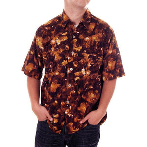 Vintage Mens Hawaiian Loop Collar Shirt Molokai Brown/Gold Sz L 1960s - The Best Vintage Clothing  - 1