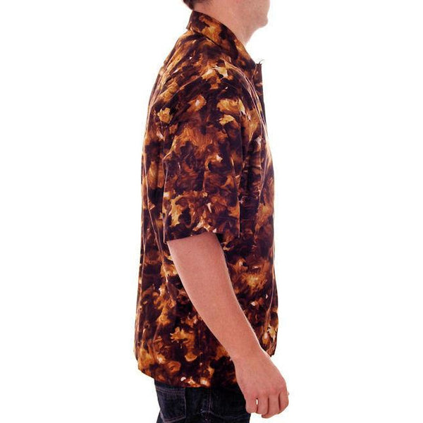 Vintage Mens Hawaiian Loop Collar Shirt Molokai Brown/Gold Sz L 1960s - The Best Vintage Clothing  - 2