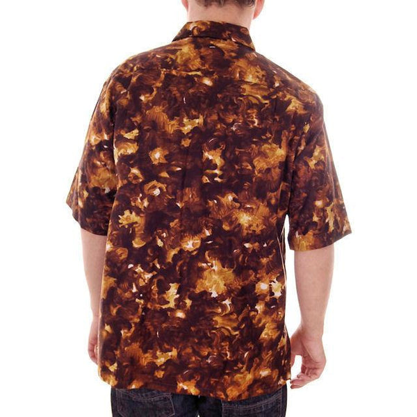 Vintage Mens Hawaiian Loop Collar Shirt Molokai Brown/Gold Sz L 1960s - The Best Vintage Clothing  - 3