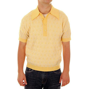 Vintage Mens Shirt Lucien Piccard Yellow Poly Uber 1970s - The Best Vintage Clothing  - 1