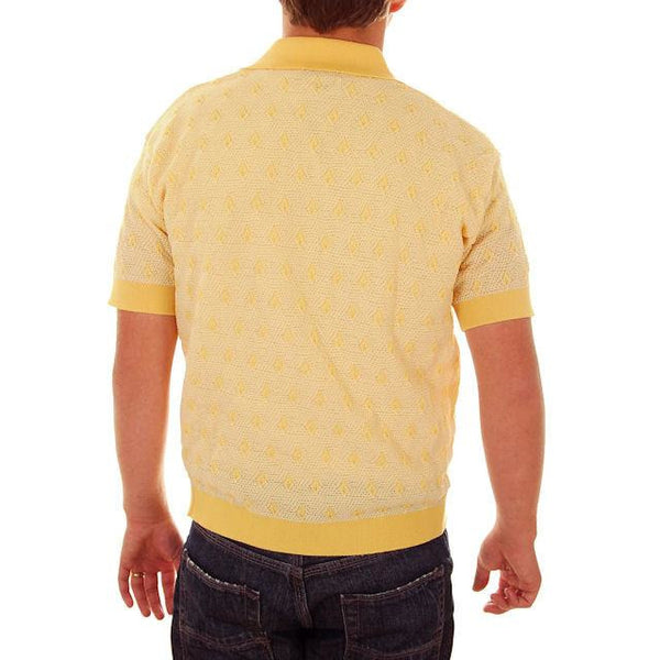 Vintage Mens Shirt Lucien Piccard Yellow Poly Uber 1970s - The Best Vintage Clothing  - 3