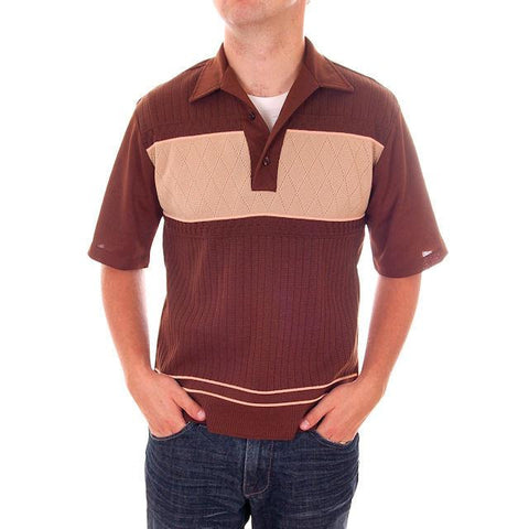 Vintage Mens Brown Two Tone Poly Shirt Rat Pack 1970s  M