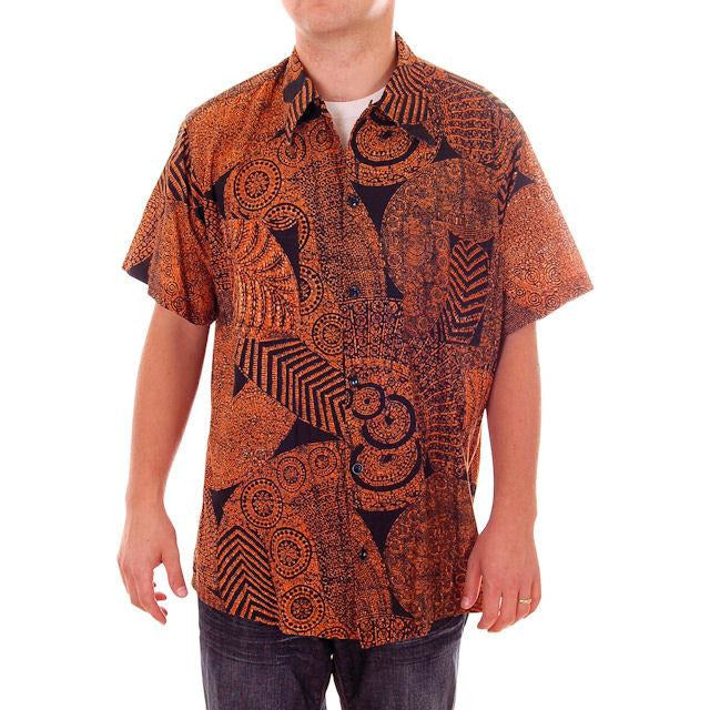 Vintage Mens Shirt Batik Orange & Black 1960s L-XL - The Best Vintage Clothing  - 1
