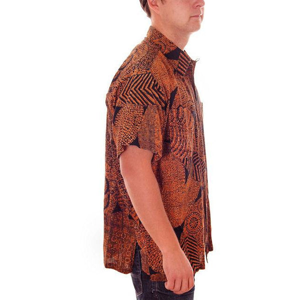 Vintage Mens Shirt Batik Orange & Black 1960s L-XL - The Best Vintage Clothing  - 2