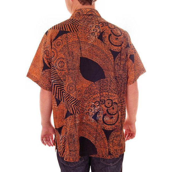 Vintage Mens Shirt Batik Orange & Black 1960s L-XL - The Best Vintage Clothing  - 3