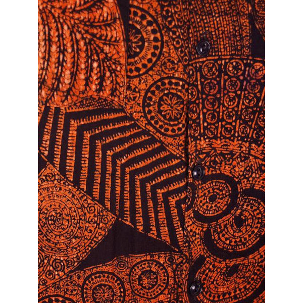 Vintage Mens Shirt Batik Orange & Black 1960s L-XL - The Best Vintage Clothing  - 4