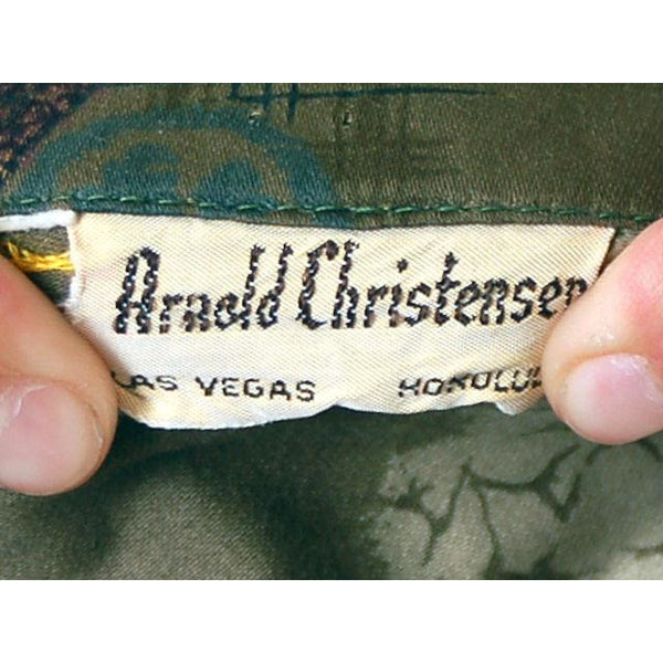 Vintage Mens Hawaiian Shirt Arnold Christensen Las Vegas 1960s L - The Best Vintage Clothing  - 5