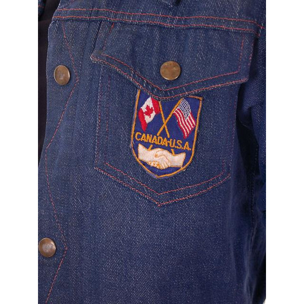 Vintage Kids Denim Jacket 1970s Unisex Canada/USA Patch Small - The Best Vintage Clothing  - 4