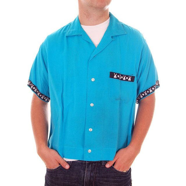 Vintage Mens Rayon Bowling Shirt Turquoise 3245th Camron Large - The Best Vintage Clothing  - 3