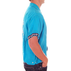 Vintage Mens Rayon Bowling Shirt Turquoise 3245th Camron Large - The Best Vintage Clothing  - 4