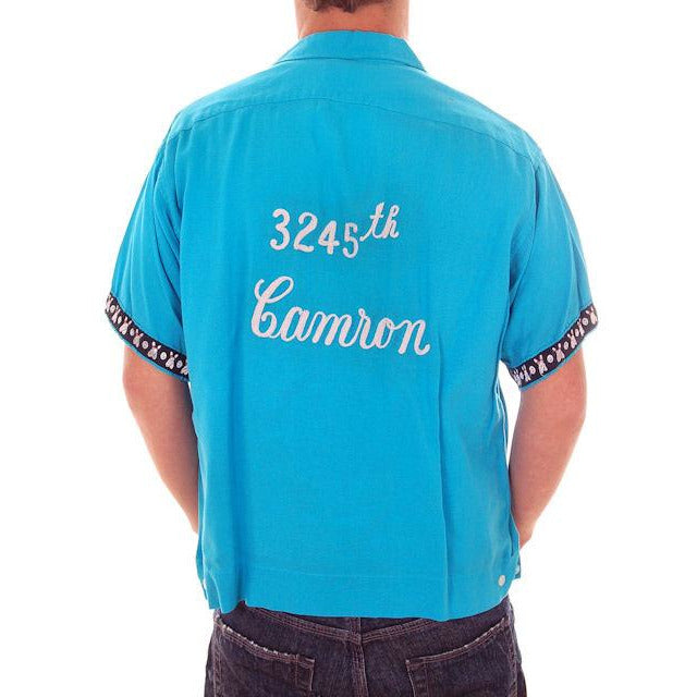 Vintage Mens Rayon Bowling Shirt Turquoise 3245th Camron Large - The Best Vintage Clothing  - 1