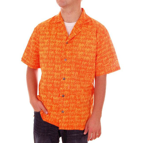 Vintage Mens Orange Batik Printed Shirt Jim Tillett M 1980s