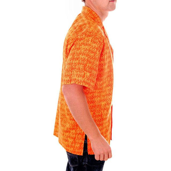 Vintage Mens Orange Batik Printed Shirt Jim Tillett M 1980s - The Best Vintage Clothing  - 2