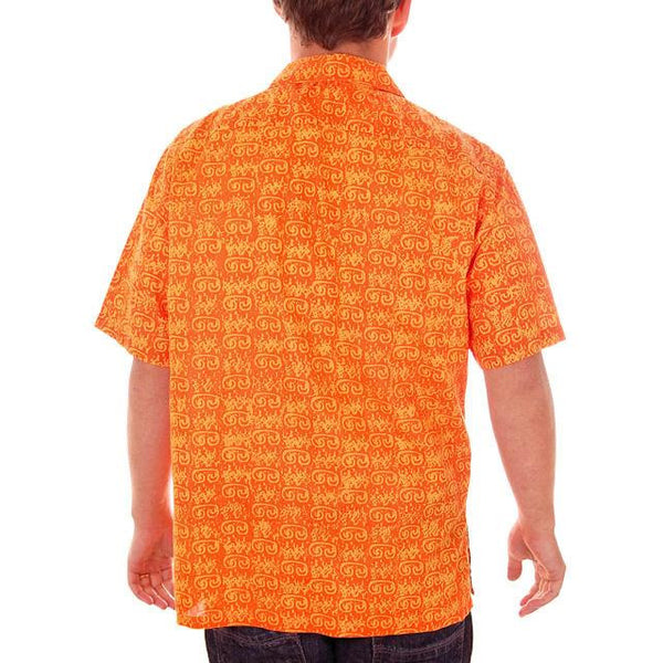 Vintage Mens Orange Batik Printed Shirt Jim Tillett M 1980s - The Best Vintage Clothing  - 3
