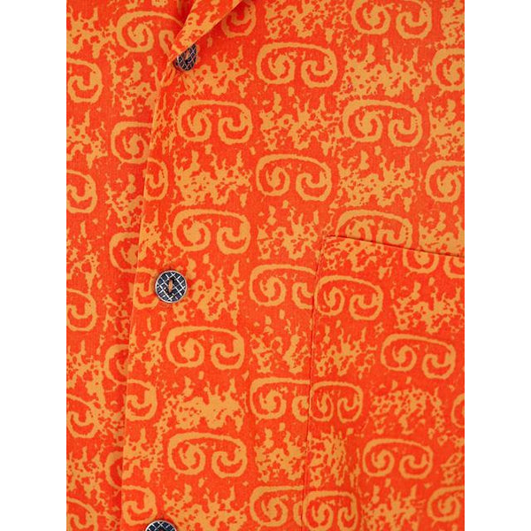 Vintage Mens Orange Batik Printed Shirt Jim Tillett M 1980s - The Best Vintage Clothing  - 4