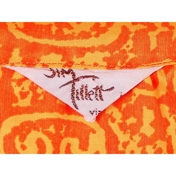 Vintage Mens Orange Batik Printed Shirt Jim Tillett M 1980s - The Best Vintage Clothing  - 5