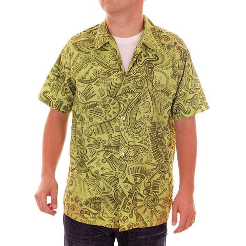 Vintage Mens Shirt Hawaiian Style Tribal Print Green 1970s Med - The Best Vintage Clothing  - 1