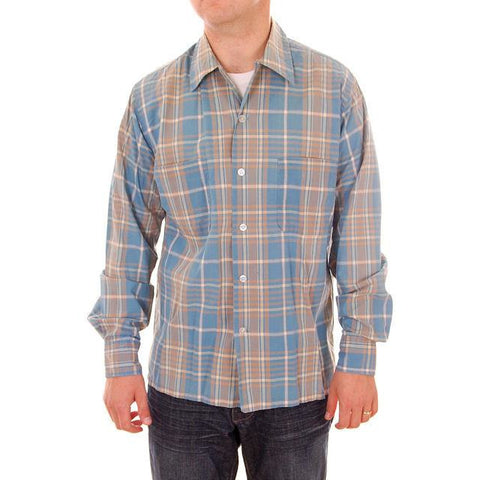 Vintage Mens Shadow Plaid Shirt 100% Cotton Pennleigh 1950s Med