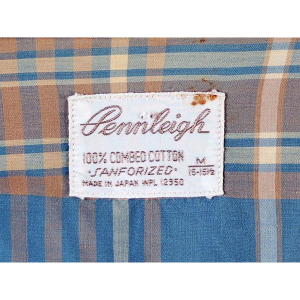 Vintage Mens Shadow Plaid Shirt 100% Cotton Pennleigh 1950s Med - The Best Vintage Clothing  - 6