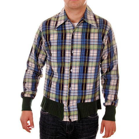 Vintage Mens Flannel Shirt w/Rib Knit Waistband 1970s Small - The Best Vintage Clothing  - 1