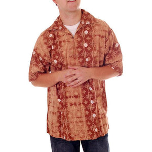 Vintage Mens Batik Print Shirt Pullover 1970s Med Browns - The Best Vintage Clothing  - 1