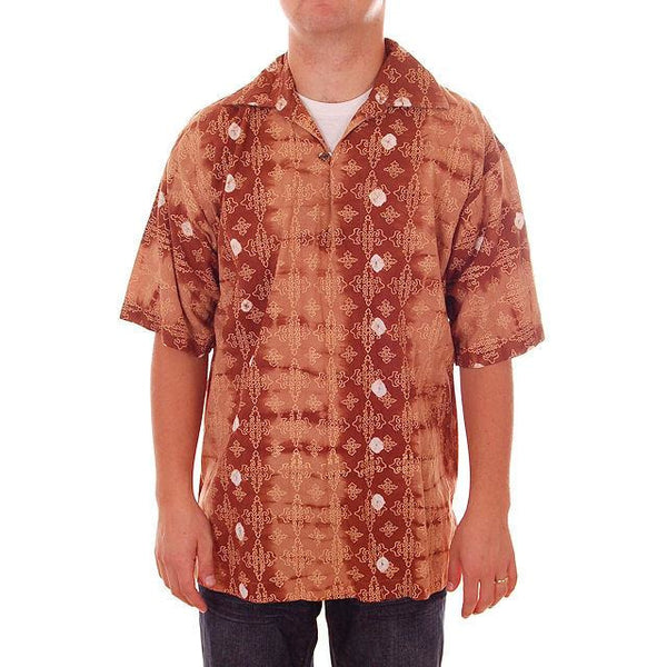 Vintage Mens Batik Print Shirt Pullover 1970s Med Browns - The Best Vintage Clothing  - 2